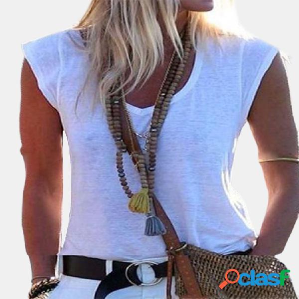 Camiseta feminina de cor sólida com decote em u de manga curta casual