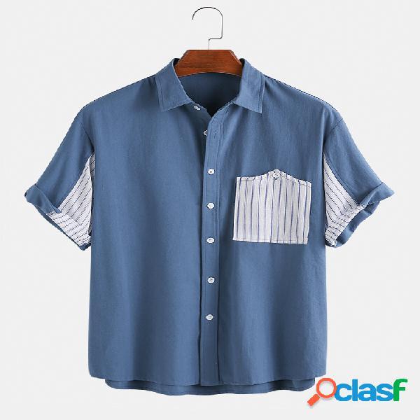 Masculino designer peito bolso patchwork 100% algodão camisas de manga curta
