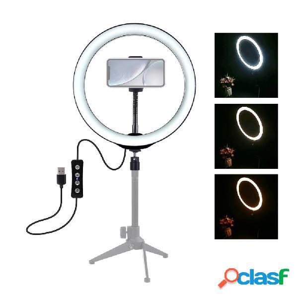 10 polegadas 3200k-6500k regulável led anel de vídeo com clipe de telefone para selfie vlog tik tok youtube ao vivo