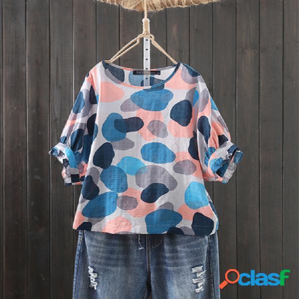 Meia manga com estampa geométrica plus tamanho camiseta
