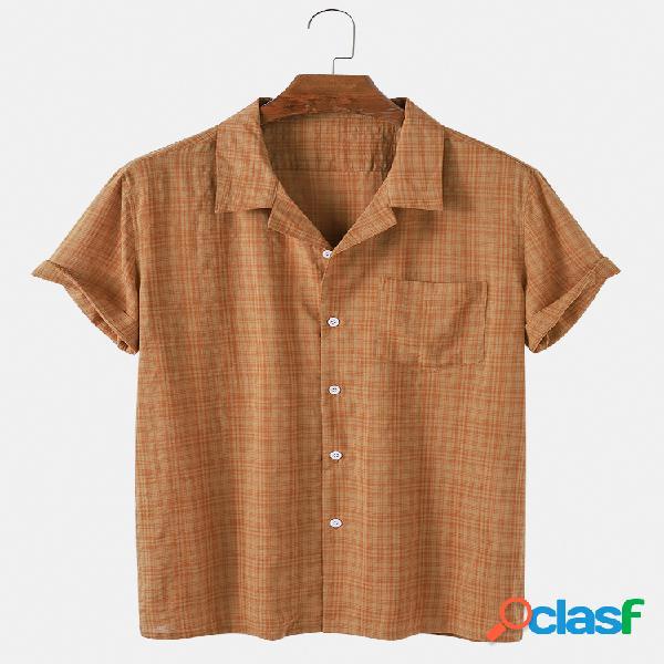 Mens small plaid cotton respirável casual camisas de manga curta