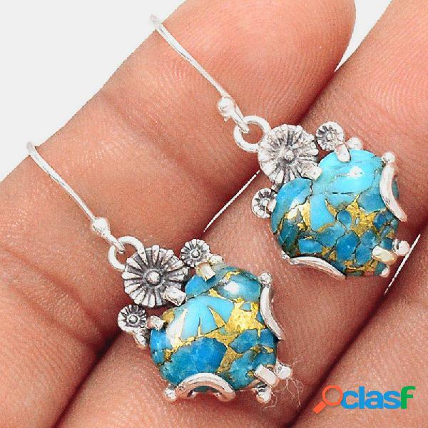 Pêssego geométrico vintage coração pingente brincos metal temperado turquesa brincos