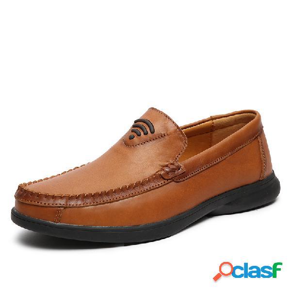 Homens couro genuíno antiderrapante soft sola casual deslizamento em sapatos