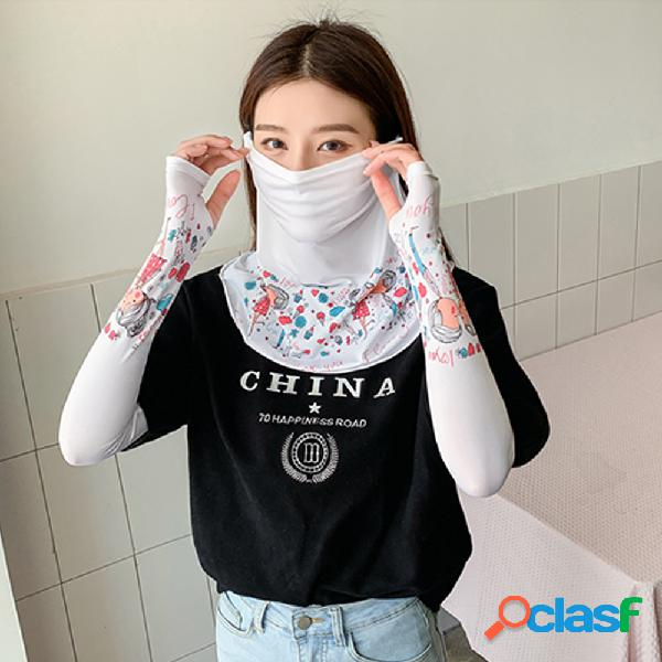 Impresso máscara capa manga véu gelo manga gelo seda manga feminino novo verão protetor solar