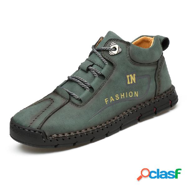 Men rubber toe hand stitching leather lace up ankle boots