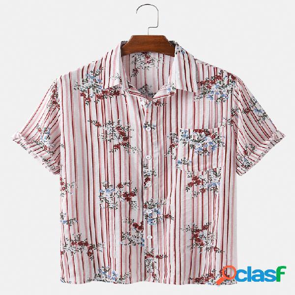Mens floral & stripes print casual light camisas de manga curta
