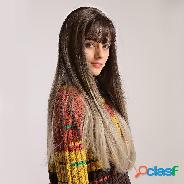 """24 """"brown gradient milk chá color neet bangs long cabelo peruca vertical natural soft peruca"""
