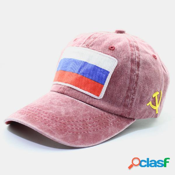 Boné de beisebol masculino e feminino bordado com bandeira russa de algodão lavado