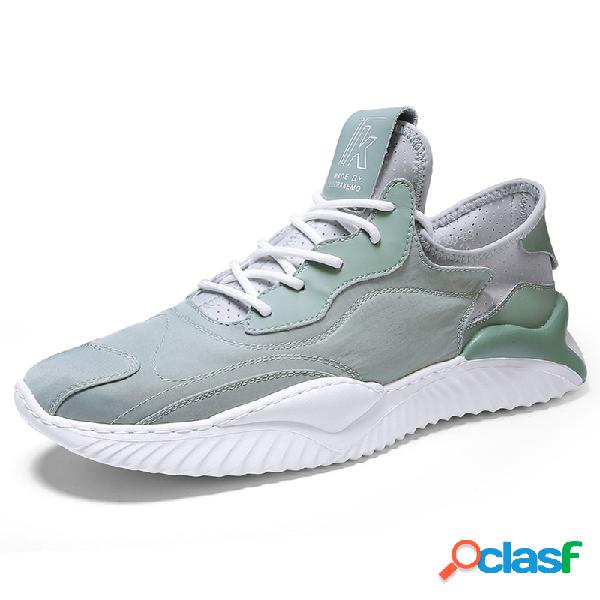 Homens ice silk respirável peso leve lace up sport casual shoes