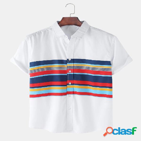 Mens 100% algodão respirável bloco de cores casual camisas de manga curta