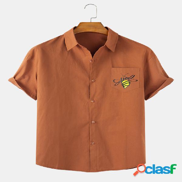 Mens bee camisas de manga curta casual respirável com algodão estampado com bolso