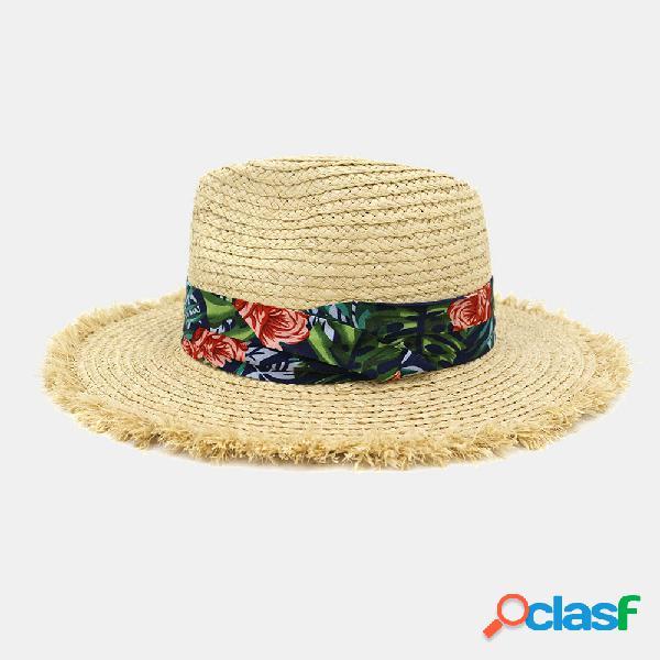 Mulheres impresso padrão raffia straw chapéu protetor solar praia chapéu