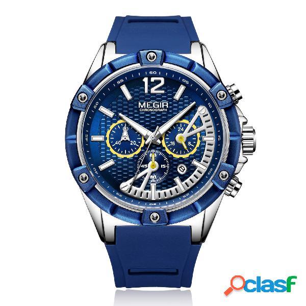 Relógio lazer esportivo masculino silicone banda relógio de quartzo com mostrador luminoso e cronógrafo exclusivo
