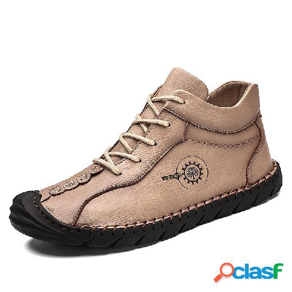 Homens borracha toe cap mão costura microfibra couro ankle boots