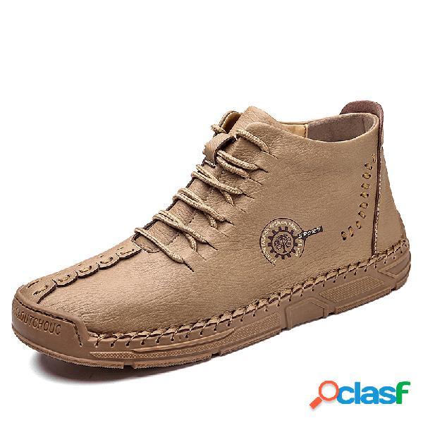 Men rubber toe cap mão costura ankle boots de couro