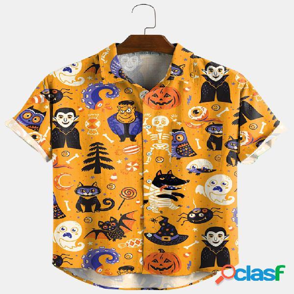 Newchic design halloween cartoon engraçado estampa gola virada para baixo camisas de manga curta