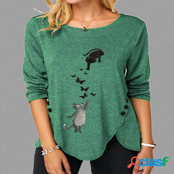 T-shirt de tamanho irregular plus de manga longa com estampa de borboletas de gato fofo