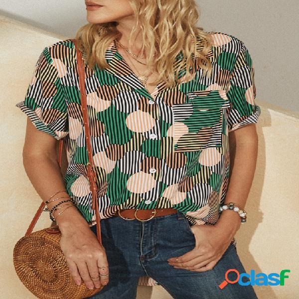 Blusa de manga curta com bolso e lapela estampada círculo listrado