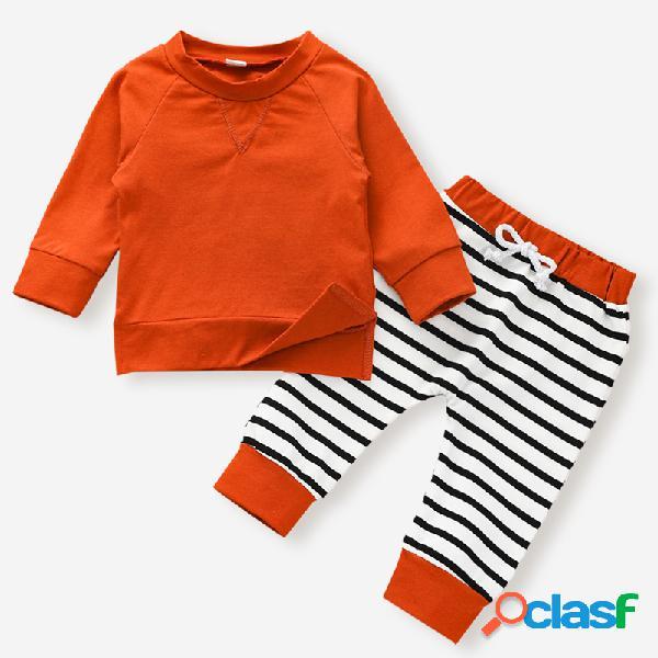 Conjunto de roupas casuais para bebê com mangas compridas de impressão listrada para 6-24m