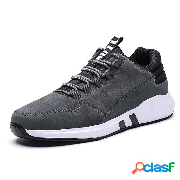 Homens microfibra couro lace up sport casual sneakers