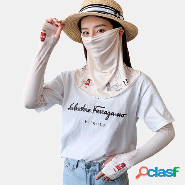 Impresso máscara protetor solar de verão para mangas de gelo com véu de capa