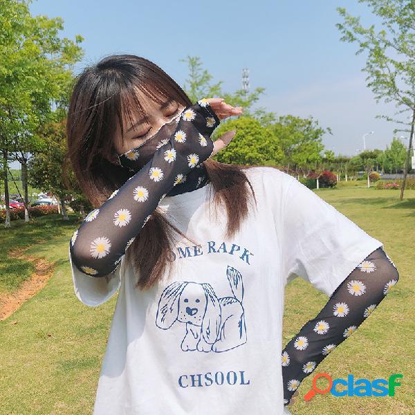 Margaridas verão véu protetor solar seção fina anti-ultravioleta manga de seda gelo lavável orelha rosto pendurado máscara