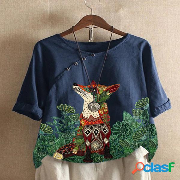 T-shirt de manga curta com estampa floral de animal cartoon com decote em o