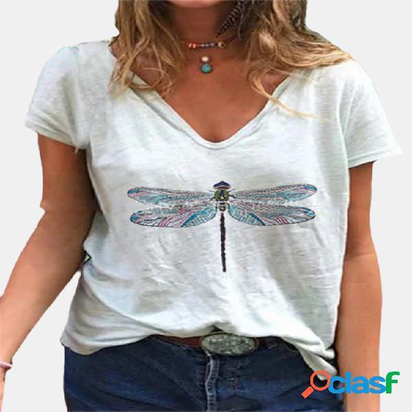 Camiseta feminina de manga curta com estampa libélula com decote em v