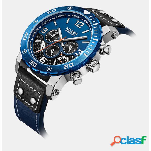 Homens de estilo esportes de lazer assistir couro banda mostrador exclusivo impermeável relógio de quartzo luminoso