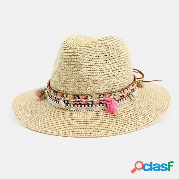 Palha chapéu jogador chapéu feminino praia chapéu ao ar livre praia protetor solar guarda-sol moda elegante jazz chapéu