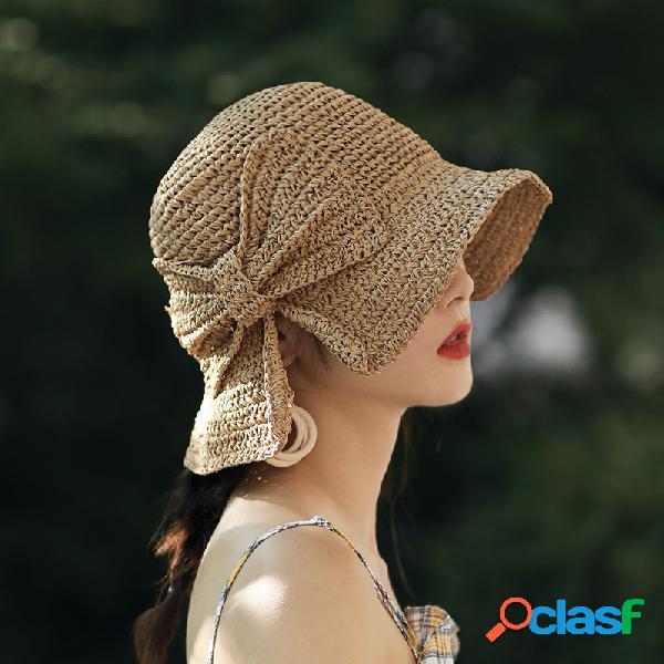 Feminino bowknot dobrável decoração casual respirável protetor solar de brim pequeno chapéu palha chapéu fivela chapéu