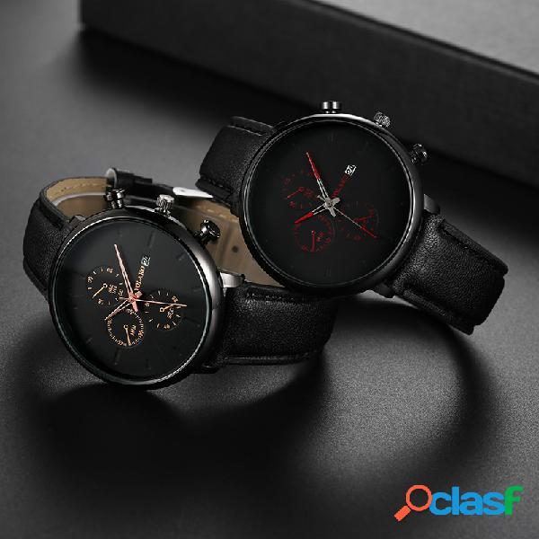 Homens de moda esporte relógios couro marrom preto banda pequeno relógio de quartzo de discagem de três mãos