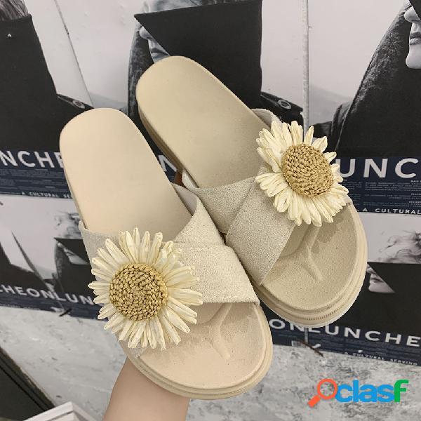 Mulheres casual flor chinelos de dedo do pé aberto