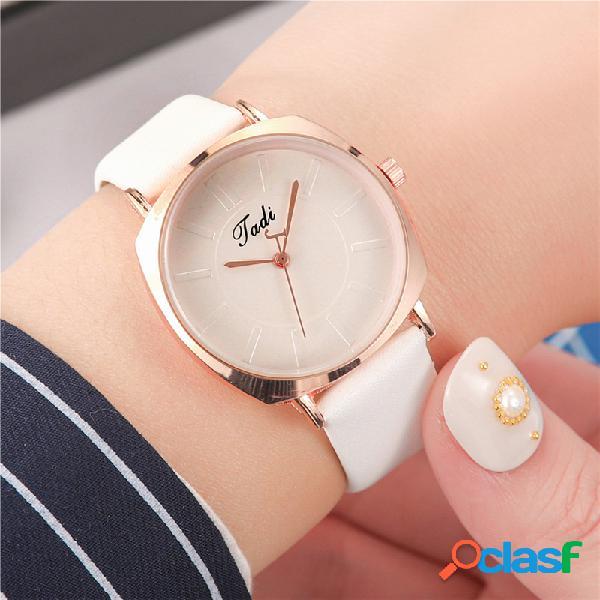 Mulheres na moda simples relógio de pulso liga de ouro rosa caso couro banda relógios de quartzo