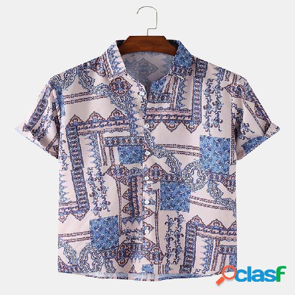 Camisas de manga curta diária de estilo étnico para homens, respirável e fino