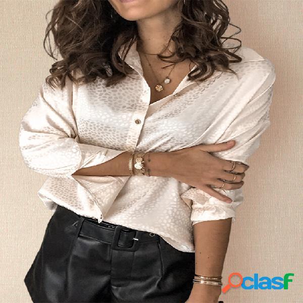 Cor sólida manga comprida lapela camisas casuais para mulheres