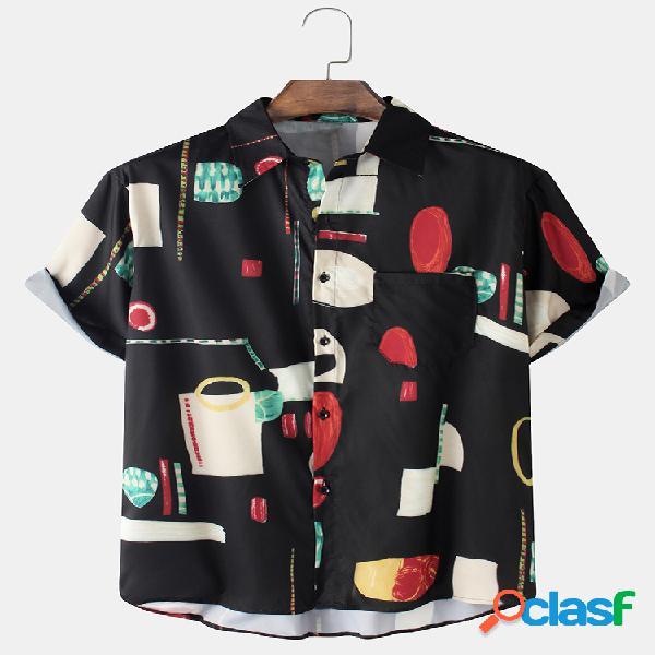 Mens 100% algodão vintage impressão soltas casuais camisas de manga curta com bolso