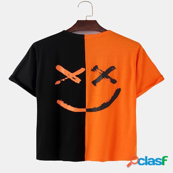 Mens contraste patchwork feliz rosto carta impressão algodão solto manga curta camisetas