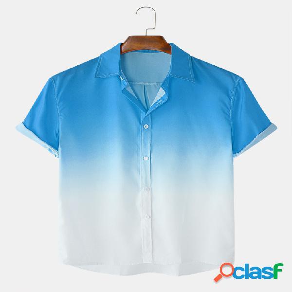 Colarinho dobrável casual masculino gradiente manga curta camisa