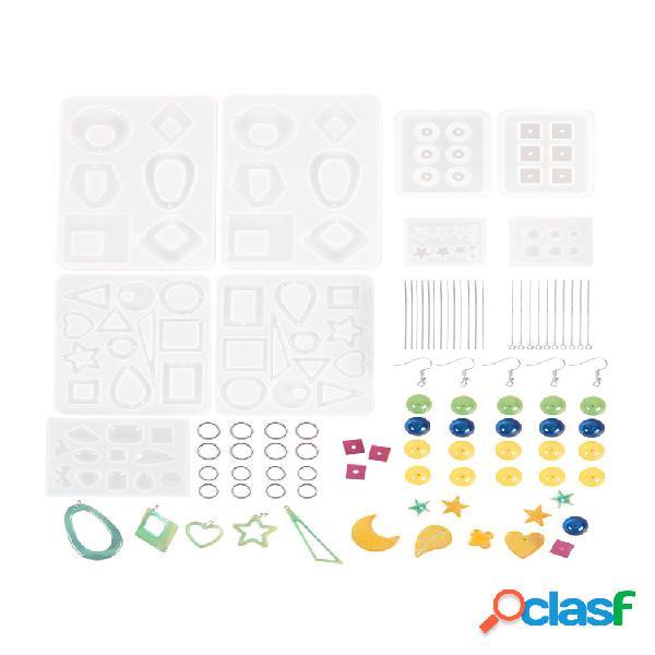 Kit de moldes de resina epóxi para brinco 248 peças bohemia gota oscilante de resina para brinco molde para joias de moda resina silicone moldes artesanato