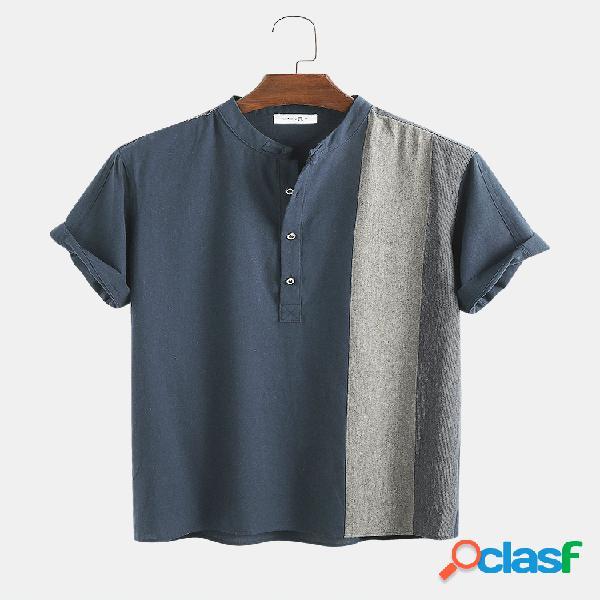 Masculino 100% algodão contraste cor casual manga curta henley camisa