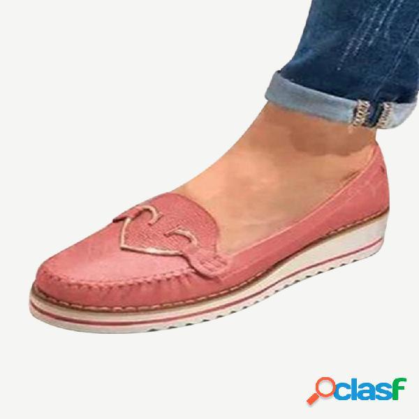 Mulheres de tamanho grande casual dedo do pé redondo costura antiderrapantes cunhas mocassins