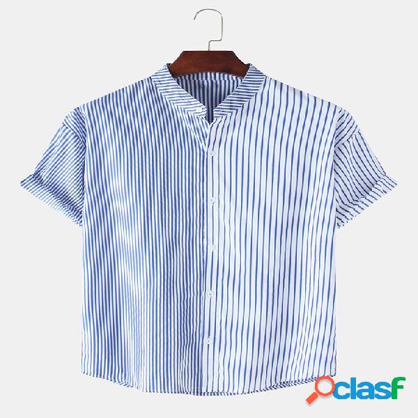 Algodão masculino listrado patchwork manga curta férias casual camisa