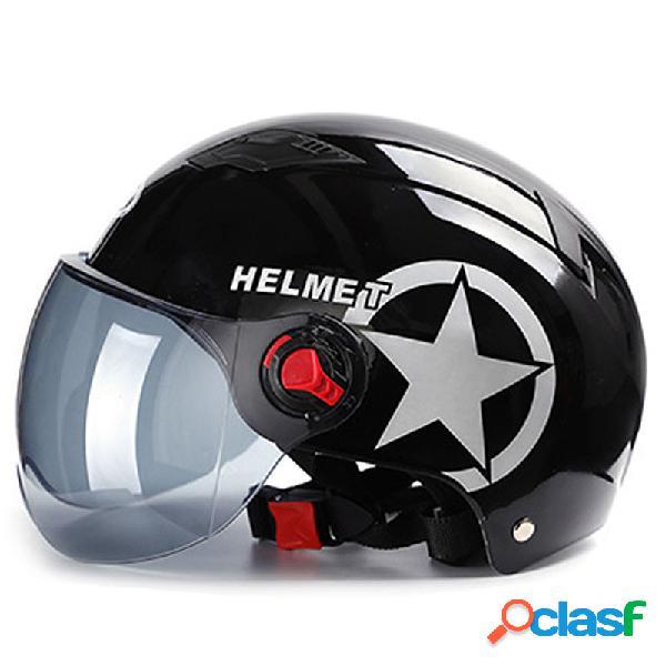 Capacetes de motocicleta capacete de bicicleta elétrica rosto aberto visores de lente dupla homens mulheres verão scooter moto moto capacete de bicicleta