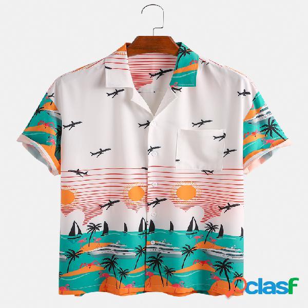 Masculino holiday praia estampa verão manga curta designer shirts