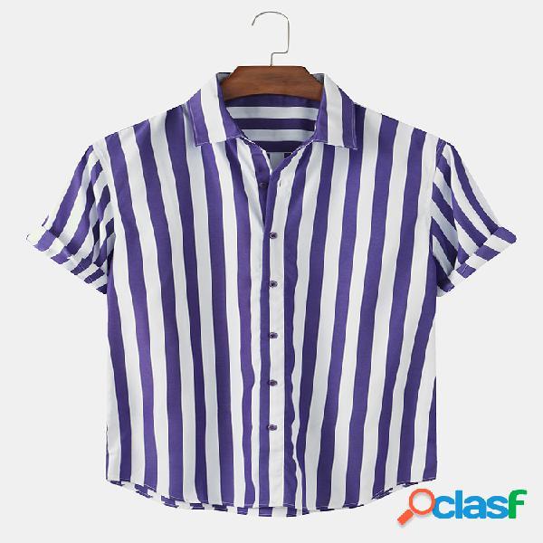 Mens holiday style listrado algodão casual manga curta designer camisa