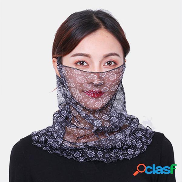 Floral respirável máscaras de impressão pescoço proteção protetor solar lenço na orelha