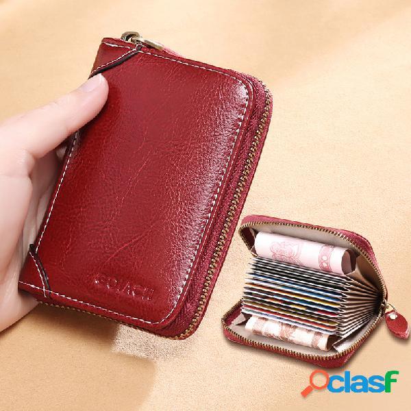 Mulheres 12 slots de cartão rfid couro genuíno carteira com zíper curta e carteira