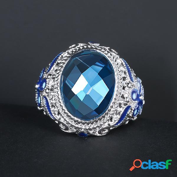 Anel de pedra de vidro azul vintage metal oco esculpido anel de dedo de flor de esmalte