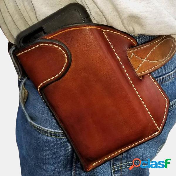 Homens couro genuíno estojo de telefone celular edc de 6,3 polegadas